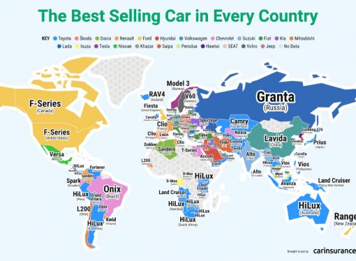 ¿Cuál es el auto más vendido en cada país?